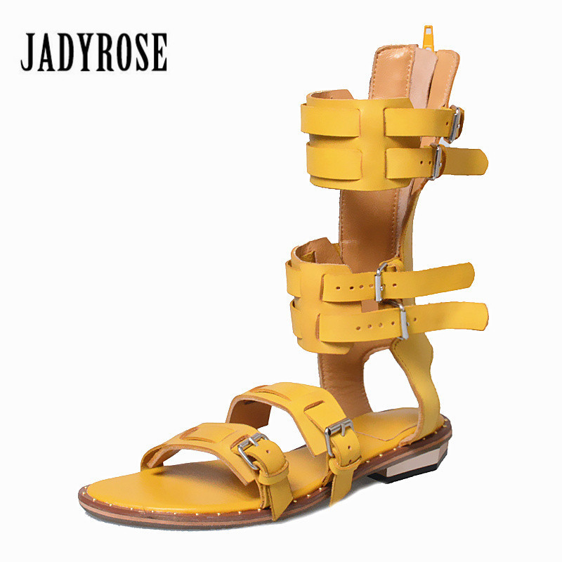 Jady Rose Vintage Yellow Women Genuine Leather Gladiator Sandals Straps Flat Shoes Woman Summer Boots Casual Beach Flats phyanic summer gladiator sandals 2017 bling glitter platform shoes woman casual beach creepers women flats shoes phy4042