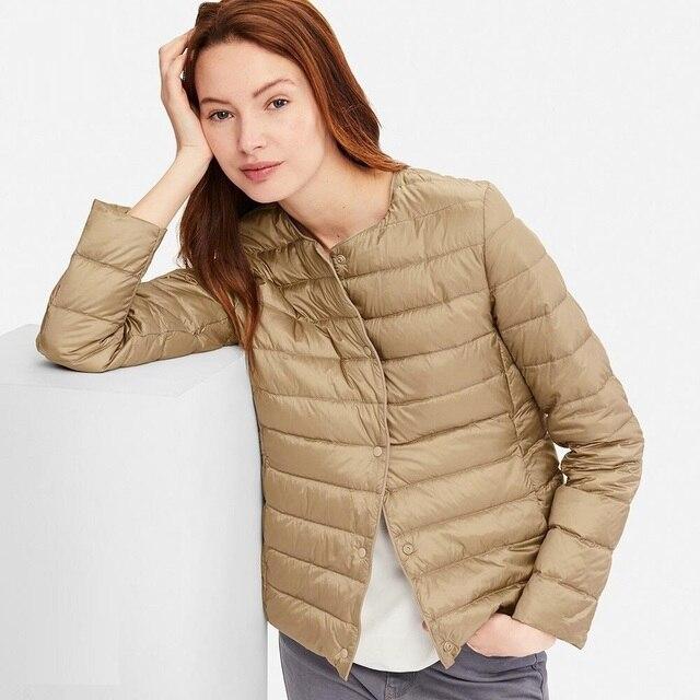 NewBang Matt Fabric Light Jacket Female Ultra Light Down Jacket Women Slim Windbreaker Without Collar Lightweight Warm Coat 1