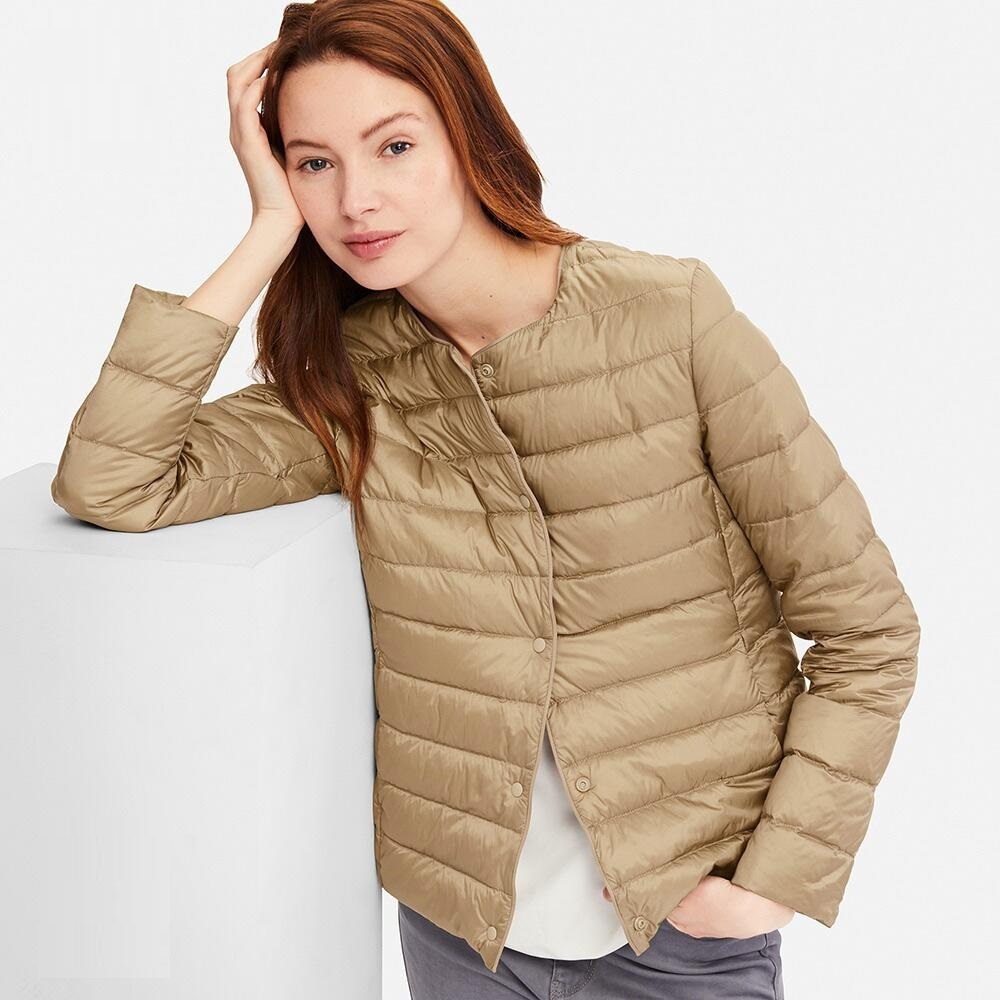 NewBang Matt Fabric Light Jacket Female Ultra Light Down Jacket Women Slim Windbreaker Without Collar Lightweight Warm Coat
