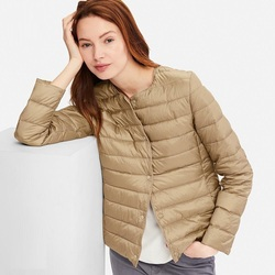 NewBang Matt Fabric Light Jacket Female Ultra Light Down Jacket Women Slim Windbreaker Without Collar Lightweight Warm Coat