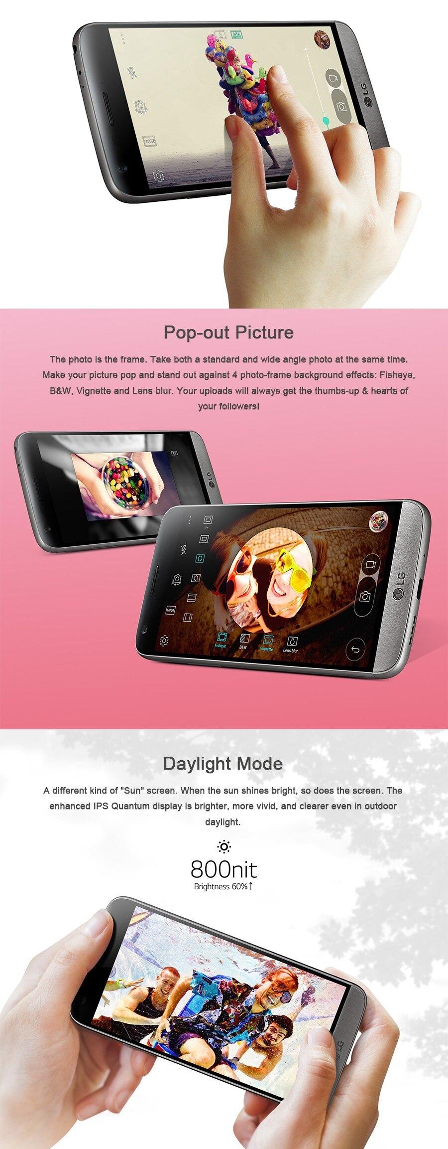 """Разблокированный LG G5 четырехъядерный мобильный телефон 4 Гб ОЗУ 32 Гб ПЗУ дисплей 5,"""" QHD ips 16MP отпечаток пальца FDD LTE смартфон"""