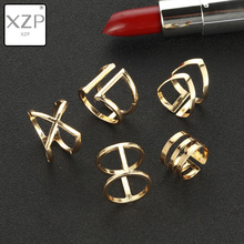 XZP 5PCS/SET 2019 Fashion Simple Design Vintage Gold Color Geometric Hollow Out Metal Cross Joint Rings Sets for Women Jewelry