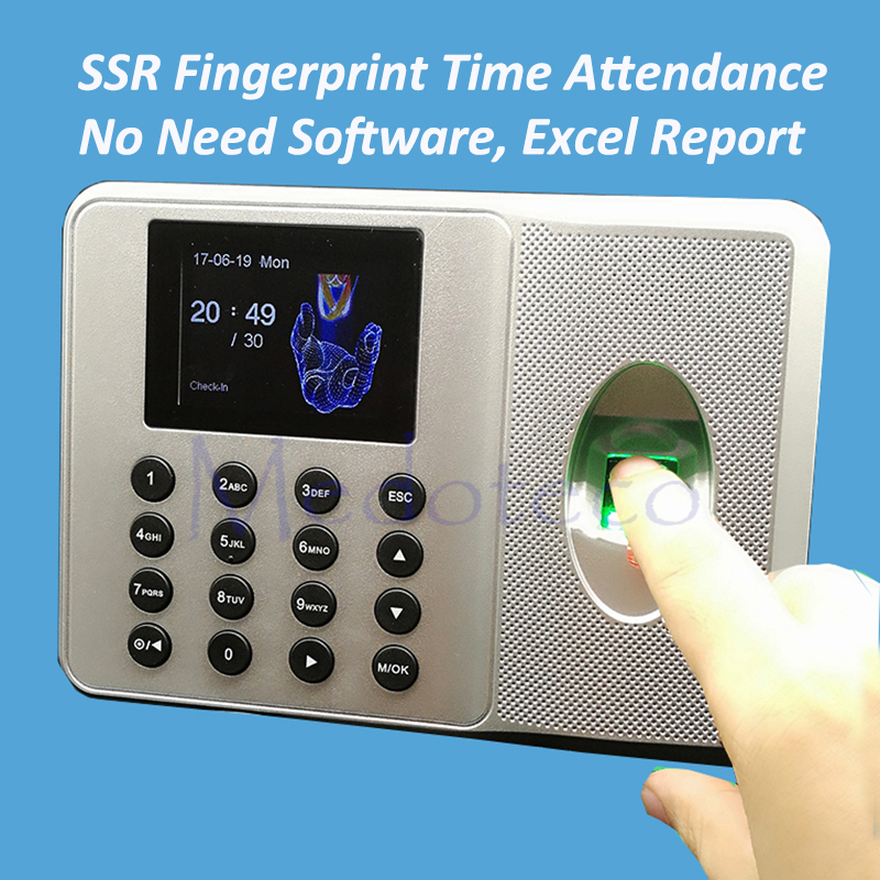wholesale 10pcs SSR Fingerprint Time Clock ZK Auot Excel Report Time Attendance Employee Electronic Fingerprint Time Attendance biometric time attendance fingerprint time recoorder time clock for office employee with usb support english language