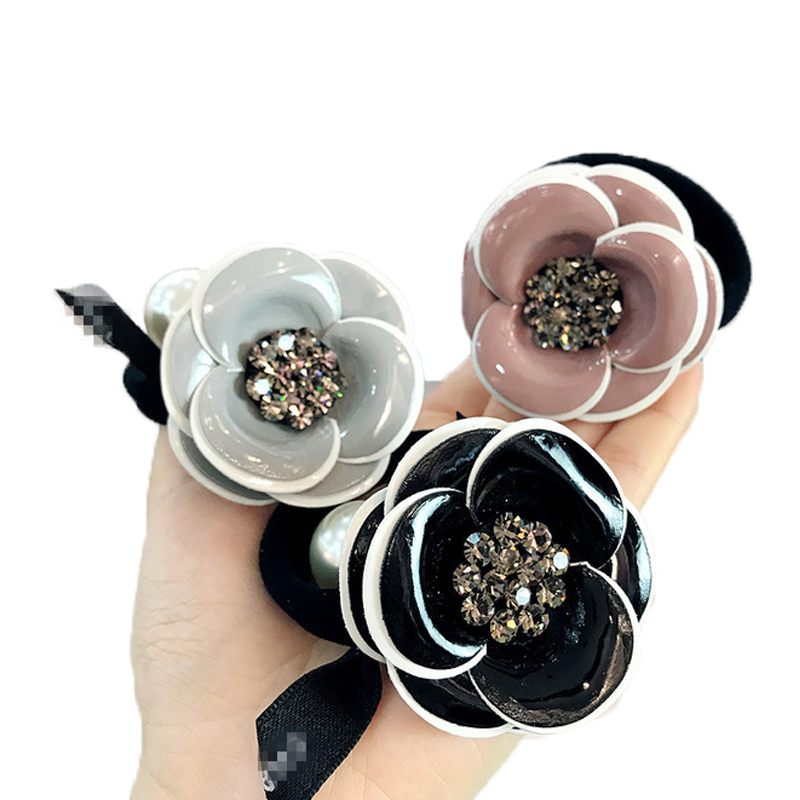 Fashion Camellia Hair Rope Rubber Bands Women Head Rope Diamond Flower Temperament Elastic Hair Band Korean Hair Accessories Gum