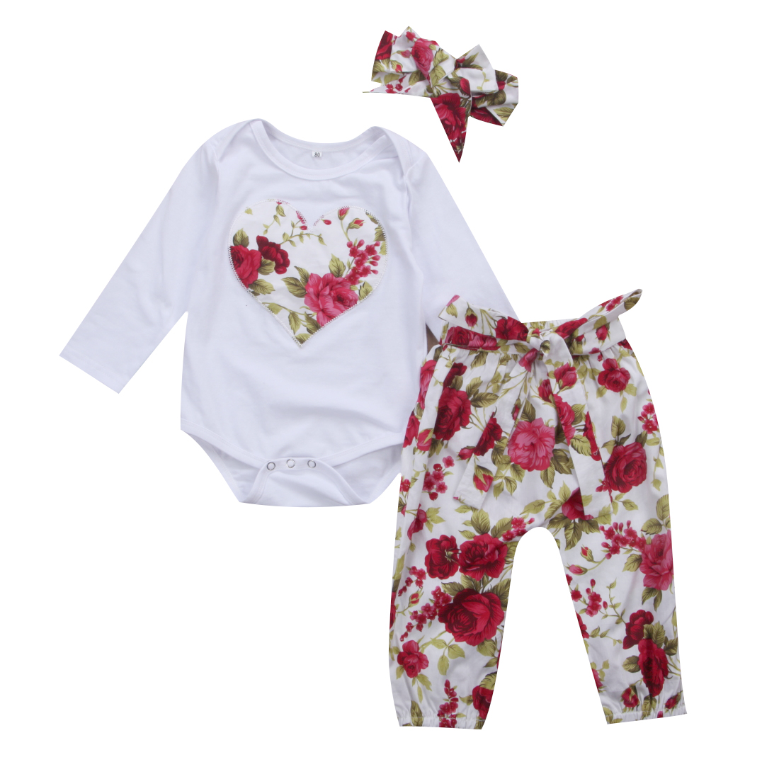 Pudcoco 3PCS Newborn Baby Girl Floral Clothes Heart Jumpsuit Bodysuit Long Floral Pants Headband Outfit 0-24M