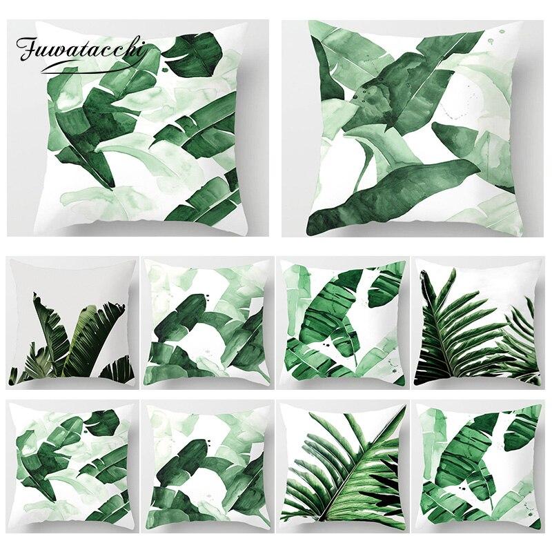 Fuwatacchi Decoração Tropical Imprimir Throw Pillow Covers Folha de Palmeira Planta Cadeira Capa de Almofada Início Sofá Decoração Fronha Quadrado