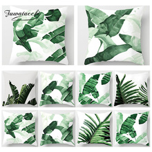Fuwatacchi Tropical Decoration Print Throw Pillow Covers Palm Leaf Plant Cushion Cover Home Sofa Chair Decor Square Pillowcase