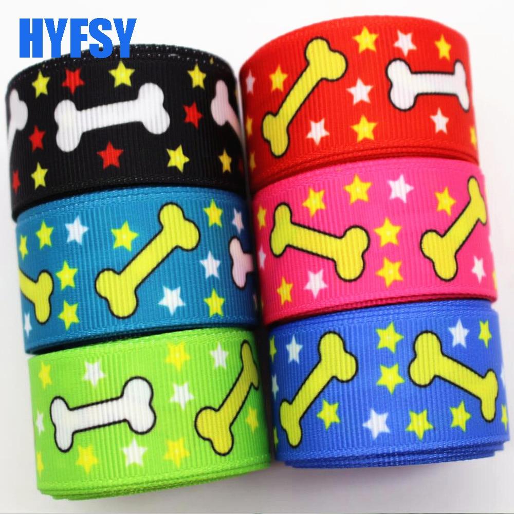 Hyfsy 10095 мм 22 мм пятиконечная звезда собака лента с изображением кости 10 ярдов DIY аксессуары для волос ошейник ручной работы швейная ткань корсаж