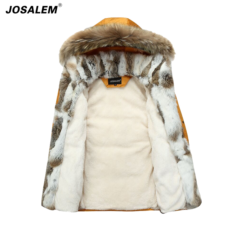 -40 Degree Temperature Men Big Rabbit Fur Collar Hooded Raccoon Parka Jacket Men's Brand Winter Duck Down Warm Coat Male Outwear faux rabbit fur brown mr short jacket sleeveless with big raccoon collar fall coat