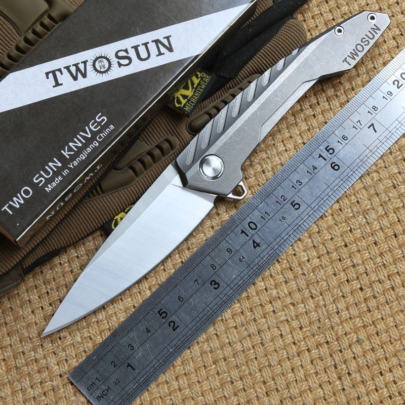 TWO SUN TS05 D2 blade Tactical Flipper ball brearing folding knife titanium camping hunt Pocket knives outdoor Survival EDC Tool newest titanium folding knife tc4 handle d2 blade tactical survival pocket knife ball bearing flipper outdoor camping knife tool