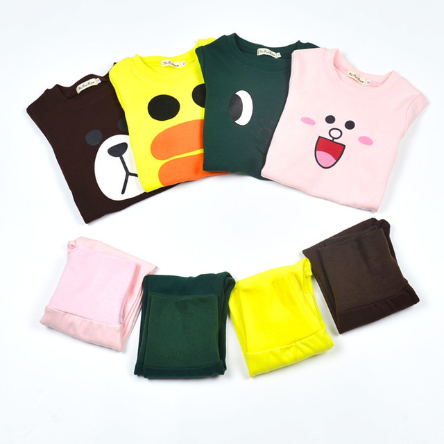 Fashion  Children's Pajama set 2pcs long sleeve rabbit bear duck pattern suit gril baby Cartoon Protect the stomach clothes