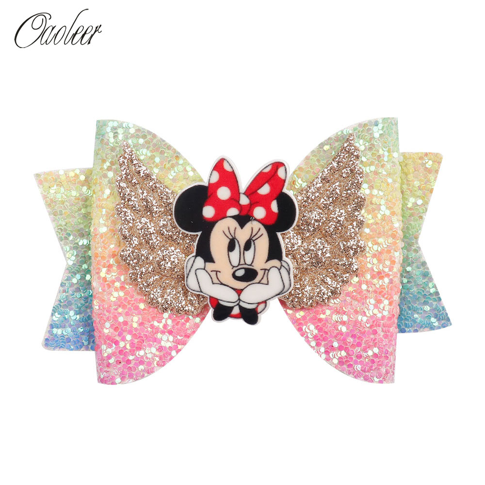 Oaoleer Hair Accessories Unicorn Barrettes for Girls Glitter Hair Clips Wings Rainbow Hairgrips with Unicorn Bowknot   Headwear