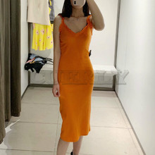 CUERLY 2019 women knitted sexy V neck midi dress spaghetti strap sleeveless stylish female mid calf orange green dresses vestido