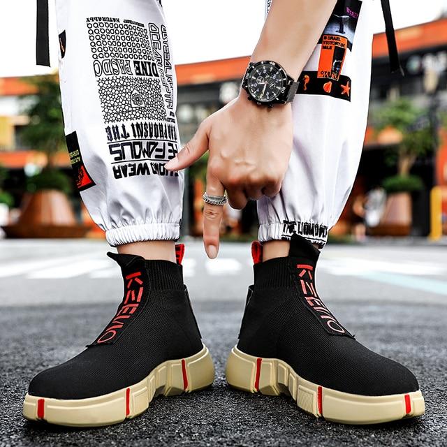 Fashion High Top Casual Shoes Men Breathable Flats Mens Casual Slip-On Platform Shoes Men Sock Walking Footwear Man zapatos 2019 1