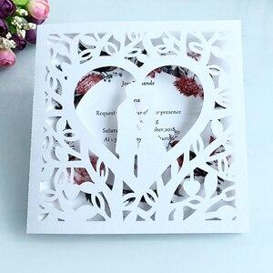 Image 1 - 50 stücke Blau Weiß Gold Rot Hohl Herz Laser Cut Ehe Hochzeit Einladungen Karte Gruß Karte Drucken Postkarte Partei Liefert