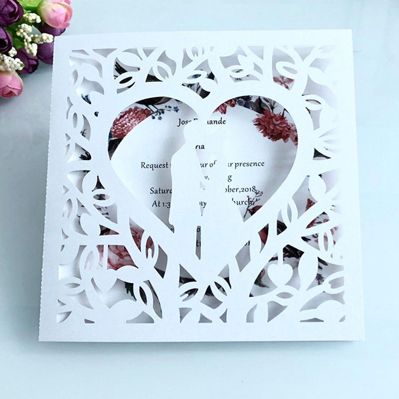 50pcs Blue White Gold Red Hollow Heart Laser Cut Marriage Wedding Invitations Card Greeting Card Print Postcard Party Supplies