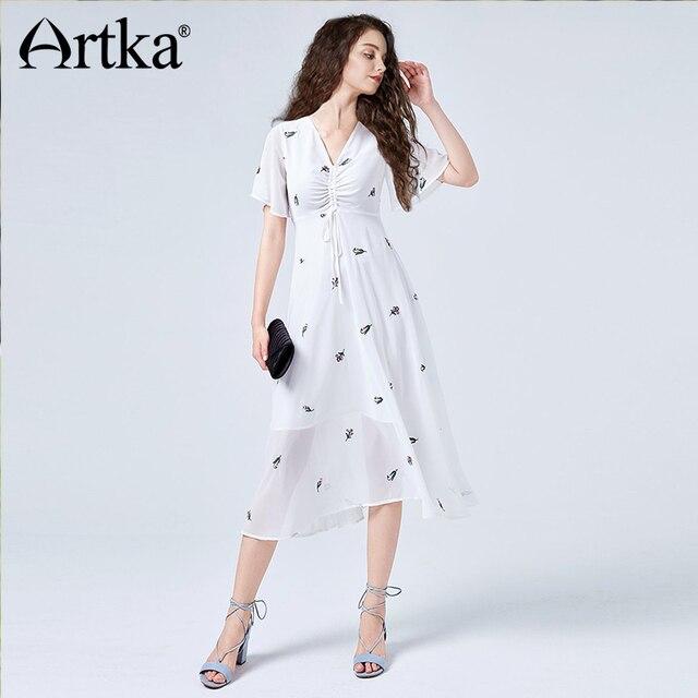 538a963dd42 ARTKA 2018 Summer Women Elegant Floral Embroidered V Neck High Waist Short  Sleeve Big Swing Solid