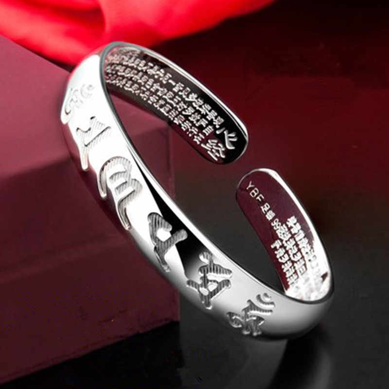 Sanskrit Six Words Bangles For Women And Men 925 Pure Silver Opening Cuff Bracelet Lovers Om Mani Padme Hum Buddhism Jewelry