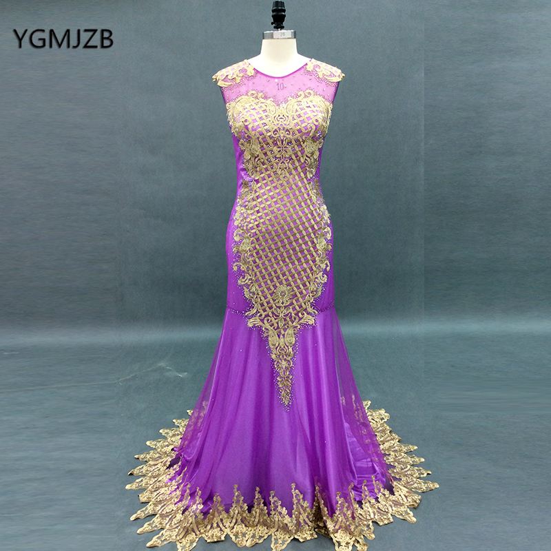 Purple Evening Dresses Long 2018 Mermaid Embroidery Beaded Lace Tulle Prom Dress Women Formal Party Evening Gown Robe De Soiree