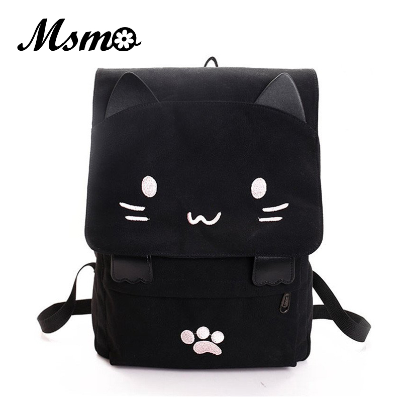 Black Smiley Neko Backpack Preppy Style School Backpacks Funny Quality Canvas Fashion Women Shoulder Bag Travel Back Pack Sac korea style fashion backpacks for men and women solid preppy style soft back pack unisex school bags big capicity canvas bag