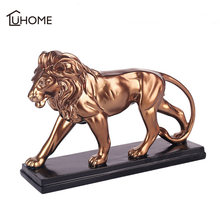Gold Lion Shaped Figurines Miniature Resin Crafts Home Office Desktop Ornament Bedroom Decoration Creative Gifts(China)