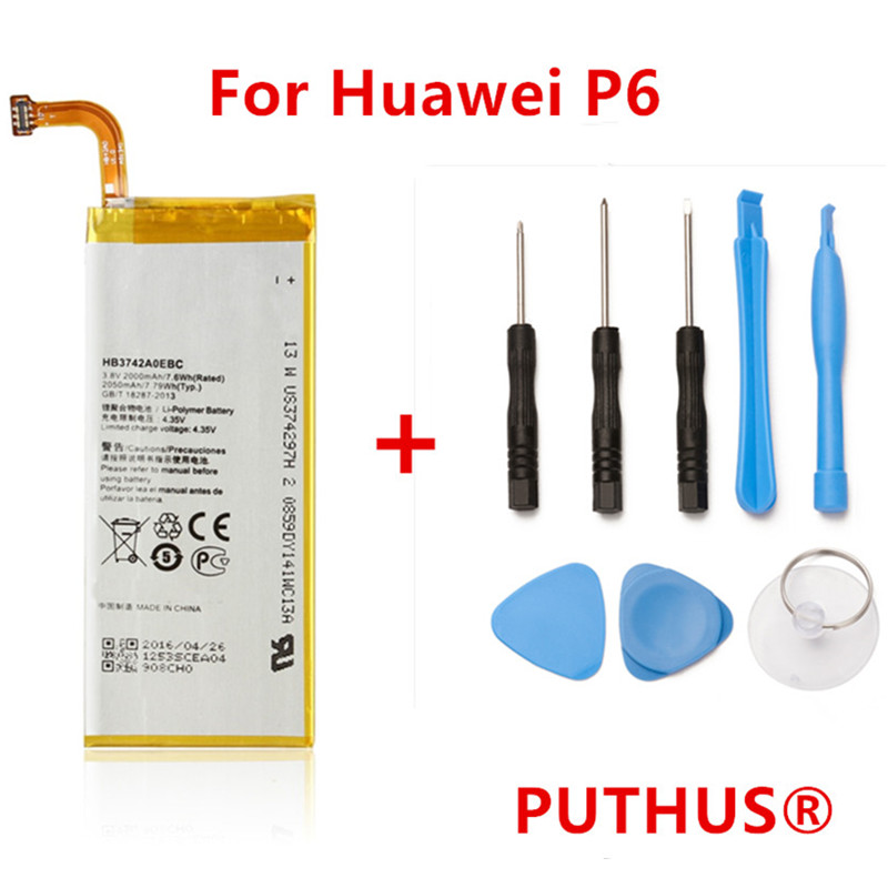 PUTHUS Battery For Huawei P6-U06 Bateria 2000mah HB3742A0EBC G620 Ce P6-C00 G621 Ascend