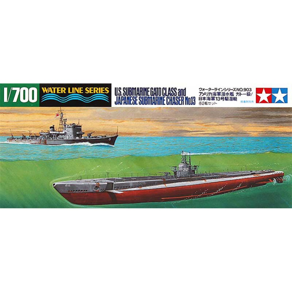 OHS Tamiya 31903 <font><b>1</b></font>/<font><b>700</b></font> US Submarine Gato Class And Japanese Submarine No13 Assembly <font><b>Scale</b></font> Military <font><b>Ship</b></font> <font><b>Model</b></font> Building Kits G image