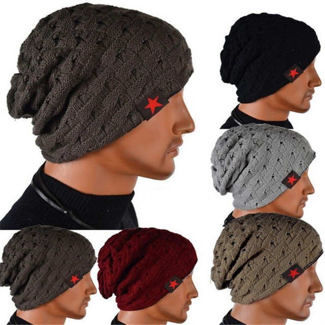 Fall Men Winter Hat knitted Striped hat hedging male wearing star cap  double-sided mesh 7fc64091c3