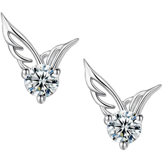 8bfa4c54b 2017 Fashion Womens Silver Plated Jewelry Angel Wings Crystal Ear Stud  Earrings Wing shape CZ Earrings