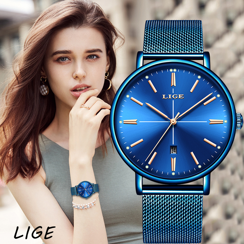 LIGE New Blue Watch Women Luxury Brand Fashion Dress Quartz Watch Ladies Full Steel Mesh Strap Waterproof Watch Relogio Feminino