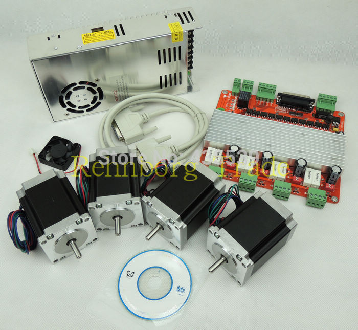 цены  CNC 4 Axis stepper motor controller kit, TB6560 4 Axis stepper motor driver +breakout board +4pcs 270 oz-in motor+power supply