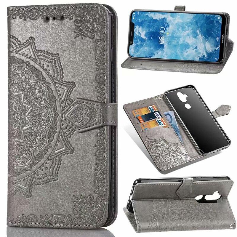 100 pcs/lot offre spéciale saisonnière pour Nokia 8.1 7.1 3.1 5.1 plus étui pour Nokia 7 plus PU cuir Mandala portefeuille Flip couverture de carte