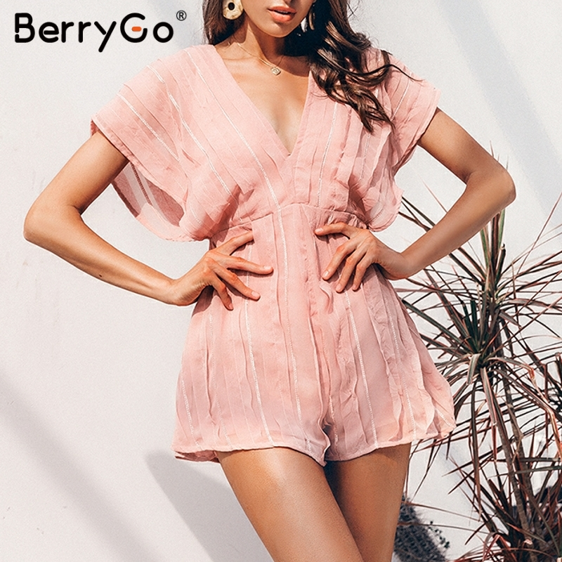 BerryGo Women Jumpsuit Summer Romper Lace Up V Neck Rompers Ladies Casual Backless Chiffon Jumpsuit Beach Elegant Overalls