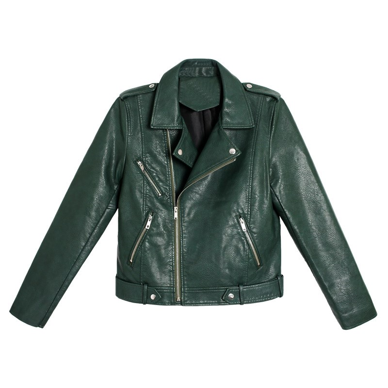 2019 Autumn Women Motorcycle Faux Pu   Leather   Coat Turn-Down Collar 2 Colors Green Black Lady Biker Jackets Outwear With Belt