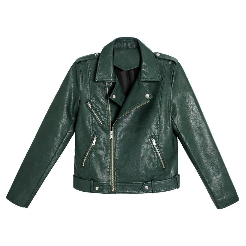 Automne hiver femmes moto Faux Pu cuir manteau col rabattu 2 couleurs vert noir dame Biker vestes avec ceinture