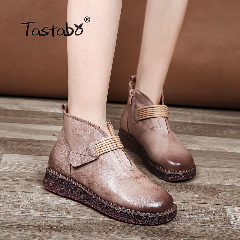 Tastabo Ankle Boots for Women 2018 Fashion Boots Women Autumn Black Round Toe Genuine Leather Soft