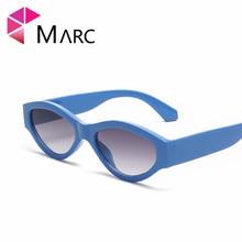 MARC 100%UV400 WOMEN MEN 2018NEW Brand Oval Transparent Eyewear Blue Plastic Design Fashion Trendy Sunglasses Gafas Oculos Resin