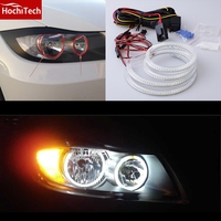 HochiTech SMD white LED angel eyes 2000LM 12V halo ring kit day light DRL for for BMW 3 Series E90 2005 2008 Halogen headlight