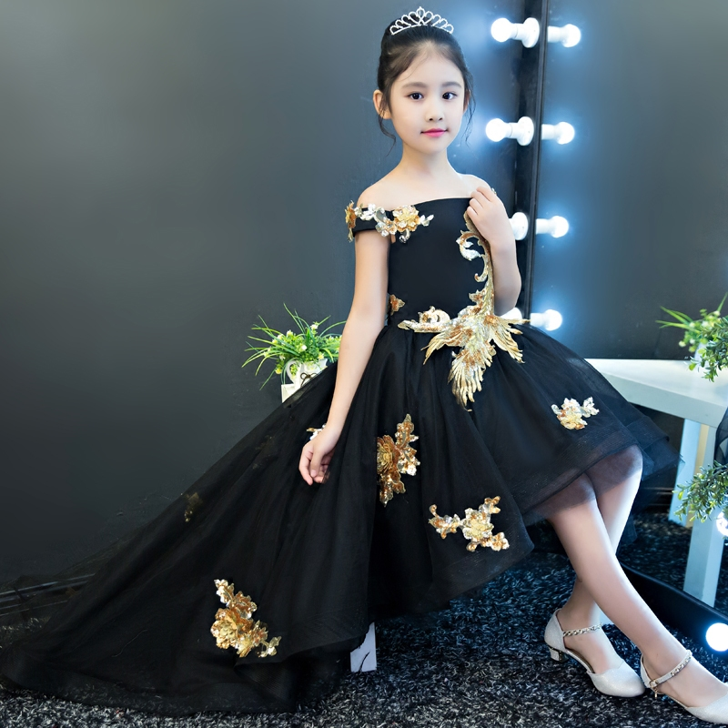 Black Shoulderless Flower Girl Dresses Sequins Appliques Kids Pageant Dress for Party Birthday Costume Ball Gown Princess Dress