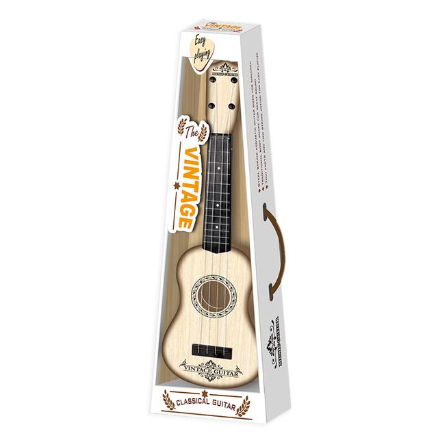 NFSTRIKE Children Guitar Type Ukulele 4 Strings Learning Early Educational Musical Instruments Toys For Kids – White Wood Grain