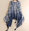 Fashion Vintage Women's Cotton Floral Print Bohemian Kimono Scraf Dark Blue Boho Shawl Cape Accessories for Summer Spring Autumn