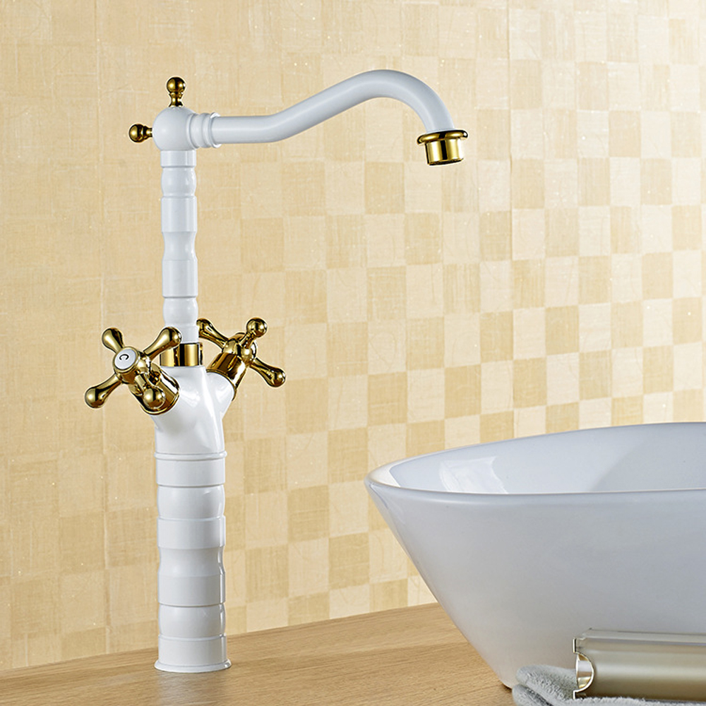 Antique above counter basin White gold plated Mixing faucet, Brass ...