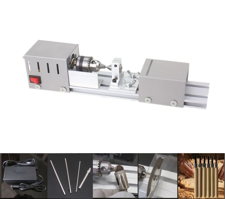 Mini Lathe Beads Machine Wood Working DIY Lathe Polishing Drill Rotary Tool DC 24V china wood working mini cnc lathe is900