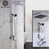 Chrome Square Bathroom Shower Faucet Mixer Wall Mount 8 Rainfall Shower Set Mixer Tap Plastic Handshower Swive Tub Spout