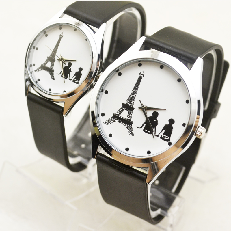 Fashion White Tower Couple Quartz Lover Watch Casual Simple Student Wristwatch Women Men Gift Clock