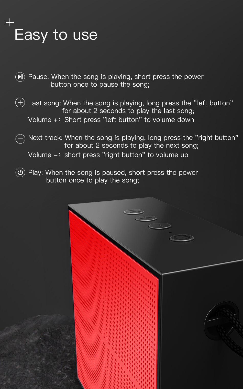 Baseus E05 Portable Bluetooth Speaker For Outdoor With 15 Hours Super Long Play Time 12