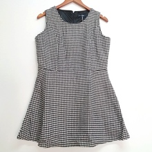 New Fashion Casual classic O-Neck Black and white contrast color geometric patterns women sleeveless loose dress