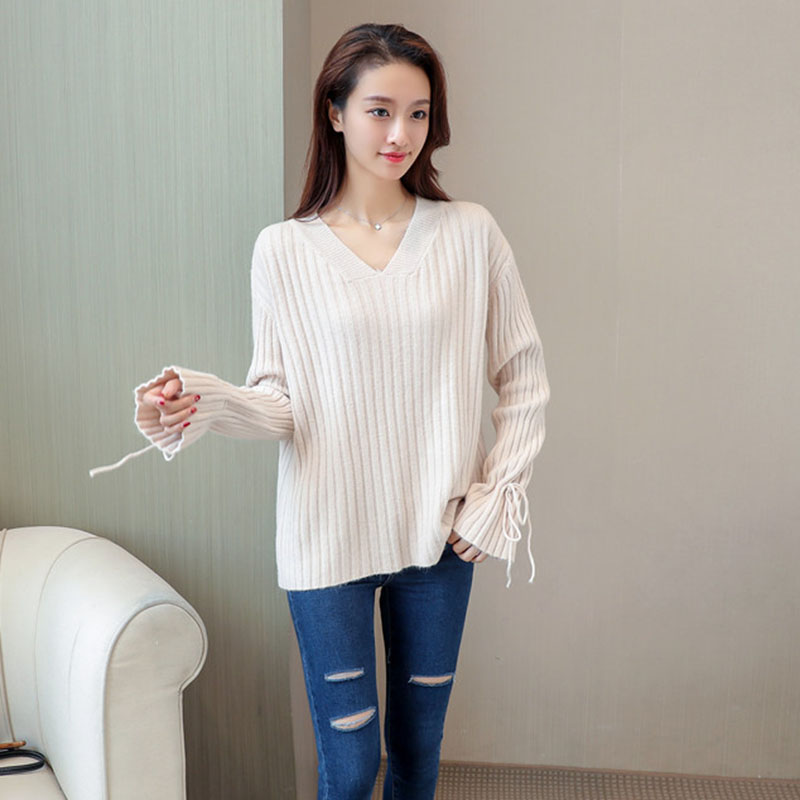 Striped Knitted Women Pullover Sweater 2018 Autumn New Arrival White Ladies Pull Long Sleeve Cotton Elegant Oversized Sweaters