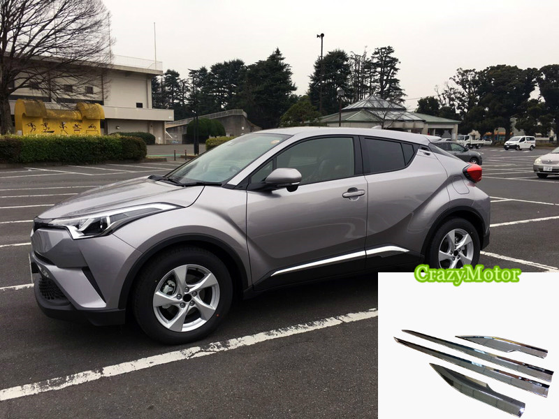 For Toyota C-HR 2016 2017 2018 ABS Chrome Door Body Side Trim Cover Molding car Styling Accessories