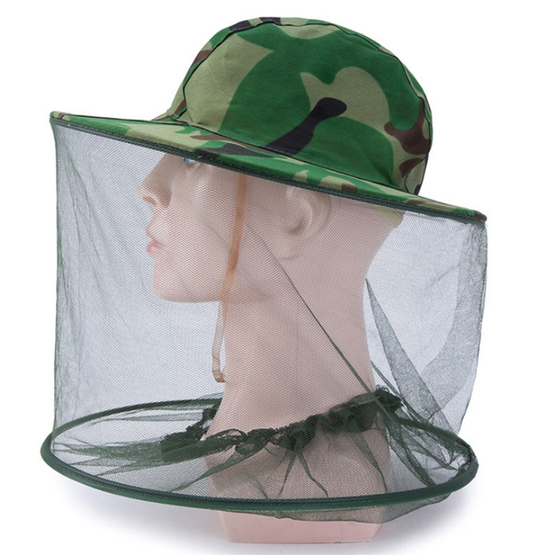 Camouflage Men Fishing Cap Wide Brim Visor Sunshade Hunting Bee Keeping Mesh Hat Insects Mosquito Prevention Neck Head Cover
